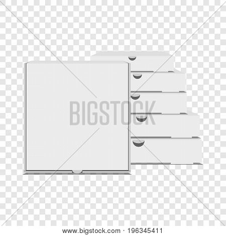 Pizza boxes icon. Realistic illustration of pizza boxes vector icon for web