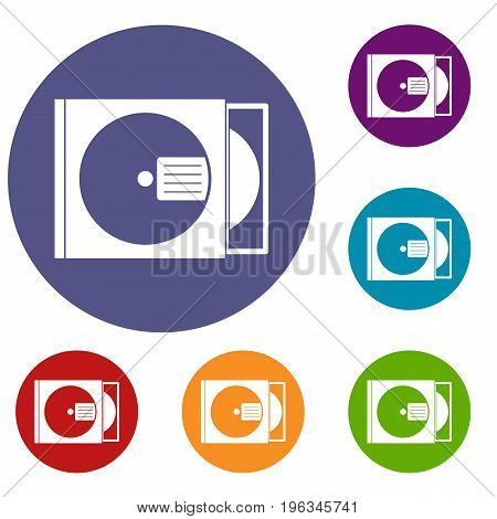 CD box with disc icons set in flat circle red, blue and green color for web