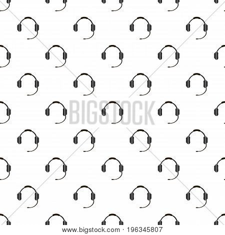 Headphones with microphone pattern seamless repeat in cartoon style vector illustration