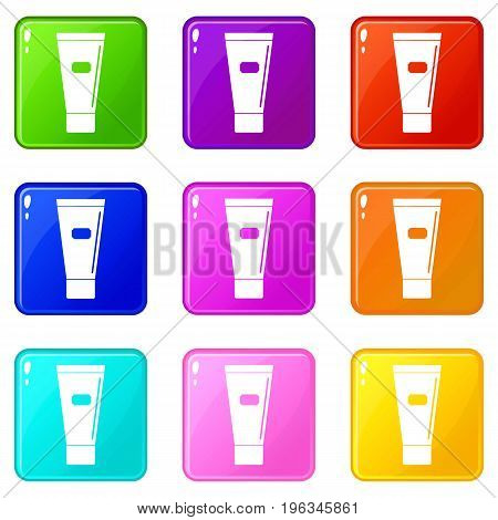 Cosmetic tube of cream or gel icons of 9 color set isolated vector illustration