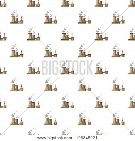 Industrial plant with pipes pattern seamless repeat in cartoon style vector illustration