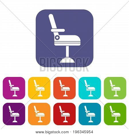 Chair icons set vector illustration in flat style in colors red, blue, green, and other