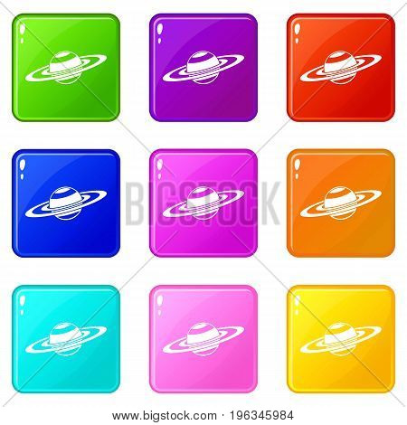 Saturn rings icons of 9 color set isolated vector illustration