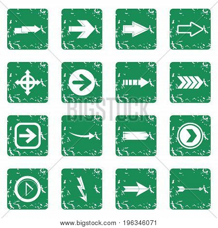 Arrow icons set in grunge style green isolated vector illustration