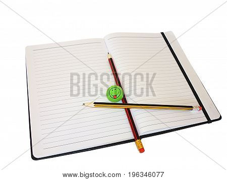 Pencil in notebook isolated on white background