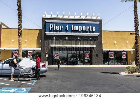 Las Vegas - Circa July 2017: Pier 1 Imports Retail Strip Mall Location. Pier 1 Imports Home Furnishings and Decor V