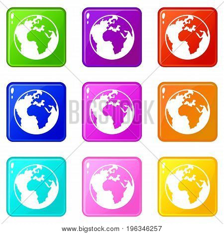 Earth globe icons of 9 color set isolated vector illustration