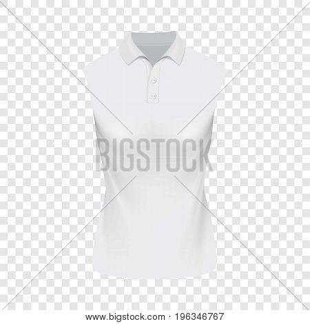 White sleeveless polo tshirt mockup. Realistic illustration of white sleeveless polo tshirt vector mockup for web