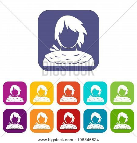 Male shorn icons set vector illustration in flat style in colors red, blue, green, and other