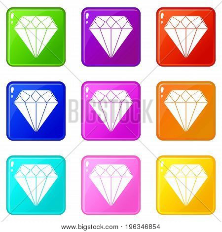 Diamond icons of 9 color set isolated vector illustration