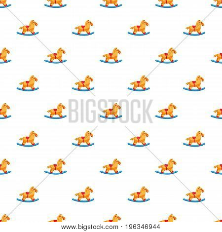 Horse rocking pattern seamless repeat in cartoon style vector illustration