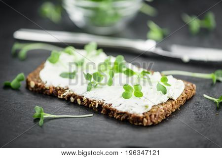 Slate Slab With Cream Cheese And Fresh Cress (close-up Shot)