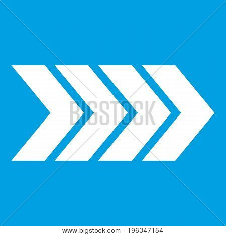 Striped arrow icon white isolated on blue background vector illustration