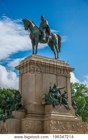 Roma, Italy - May 24, 2013. View of monument in honor of Garibaldi (Italian hero) in the Gianicolo Park at Rome, the incredible city of the Ancient Era, known as