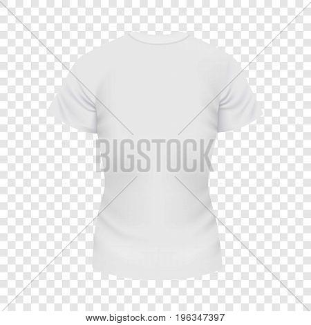 White female tshirt mockup. Realistic illustration of white female tshirt vector mockup for web