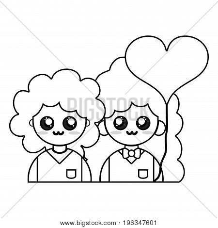 line couple together with relationships romance and balloon heart vector illustration