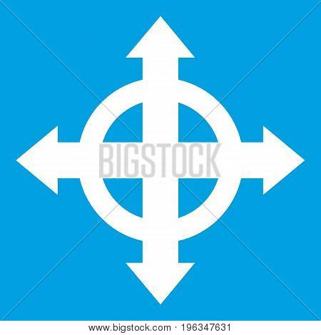 Arrows target icon white isolated on blue background vector illustration