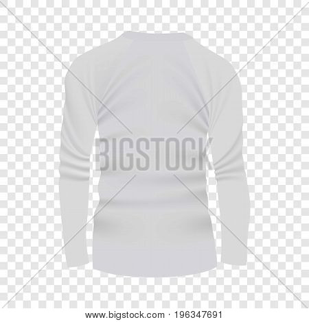 Back of white tshirt long sleeve mockup. Realistic illustration of back of white tshirt long sleeve vector mockup for web