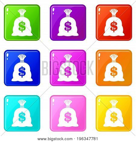 Money bag with US dollar sign icons of 9 color set isolated vector illustration