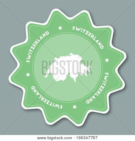 Switzerland Map Sticker In Trendy Colors. Star Shaped Travel Sticker With Country Name And Map. Can