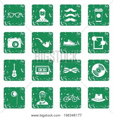 Hipster icons set in grunge style green isolated vector illustration