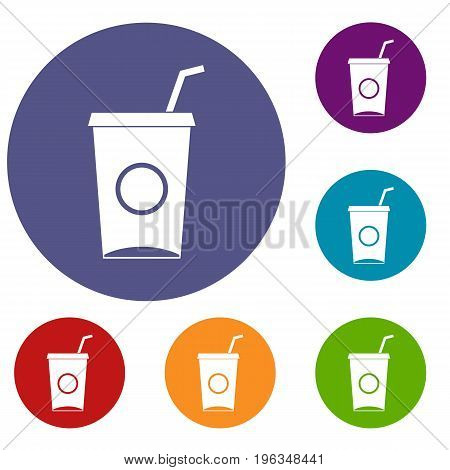 Soft drink in paper cup icons set in flat circle red, blue and green color for web