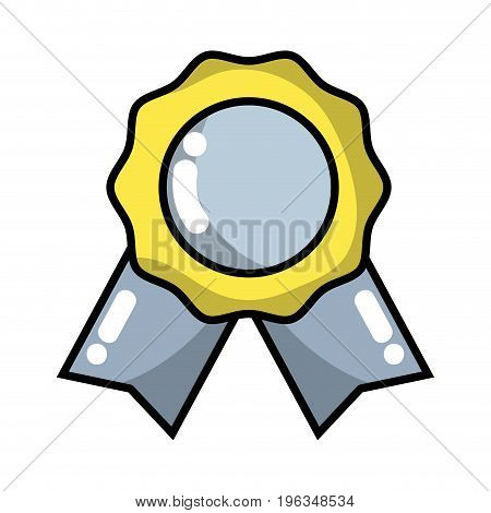 medal symbol to winner of competition game vector illustration