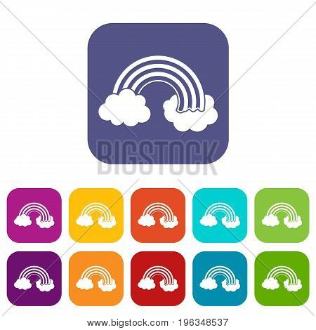 Rainbow LGBT icons set vector illustration in flat style in colors red, blue, green, and other
