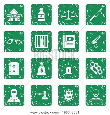 Crime and punishment icons set in grunge style green isolated vector illustration