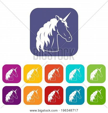 Unicorn icons set vector illustration in flat style in colors red, blue, green, and other