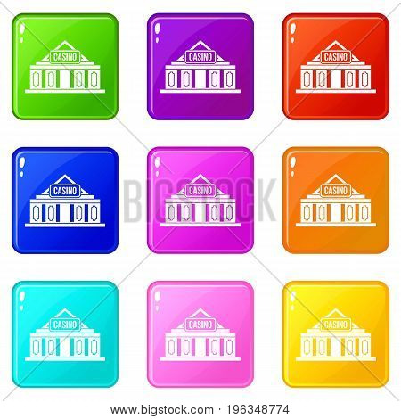 Casino building icons of 9 color set isolated vector illustration