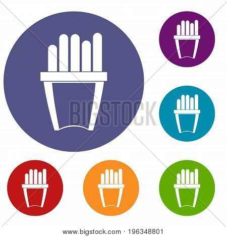 Portion of french fries icons set in flat circle red, blue and green color for web