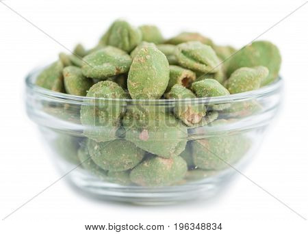 Wasabi Coated Peanuts (isolated On White)