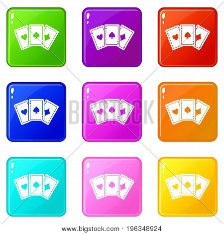 Three aces playing cards icons of 9 color set isolated vector illustration