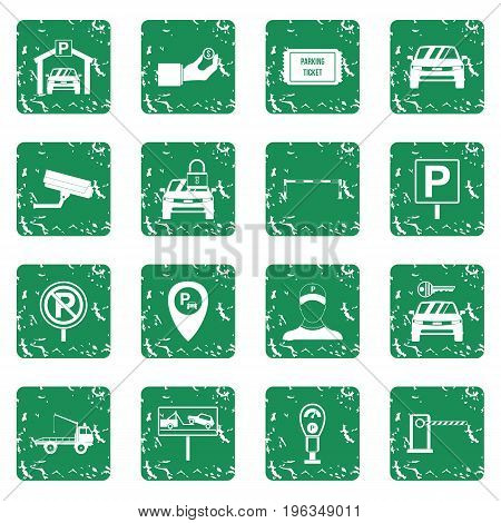 Parking set in grunge style green isolated vector illustration