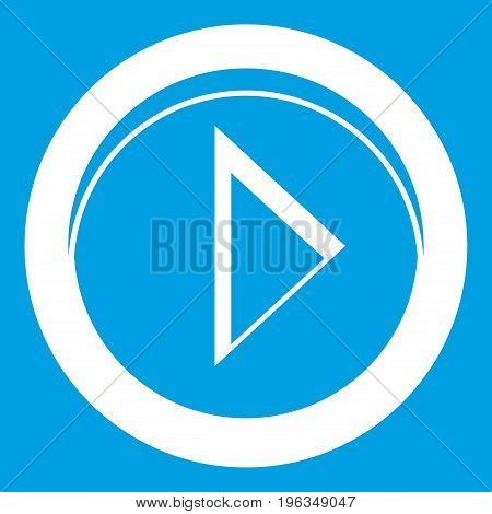 Cursor to right in circle icon white isolated on blue background vector illustration