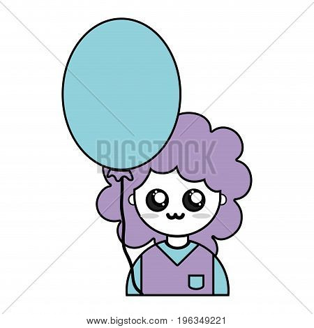 nice boy with uniform clothes and balloon vector illustration