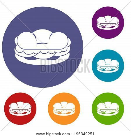 Burger icons set in flat circle red, blue and green color for web