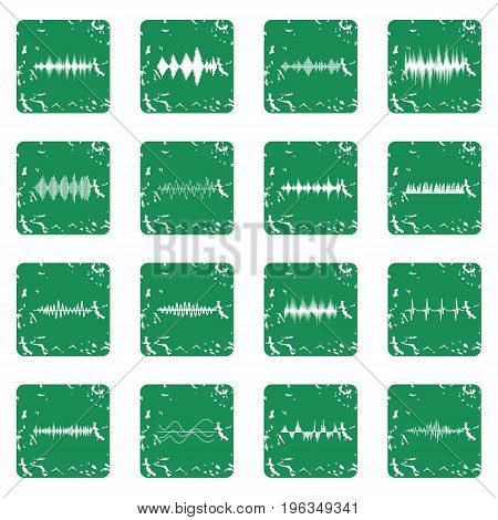 Sound wave icons set in grunge style green isolated vector illustration