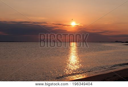 Sunset On The Beach With Beautiful Sky.