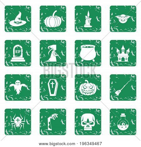 Halloween icons set in grunge style green isolated vector illustration