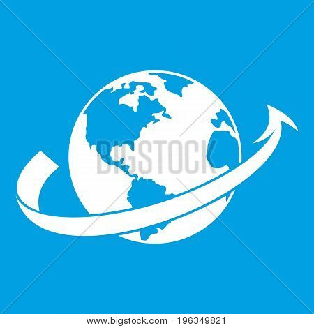 Airplane fly around the planet icon white isolated on blue background vector illustration