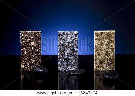 Set of elegant color samples of kitchen countertops, made from granite, marble and quartz stone. colorful marble stone countertops for bathroom and kitchen cabinets. Stone, Bathroom, Kitchen, Countertops, Counters, Granite, Marble, Floor, Tiles, Slabs