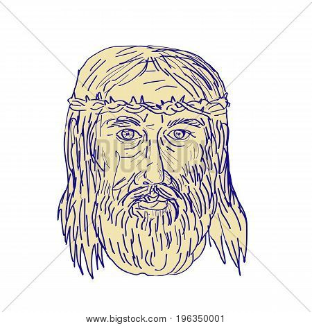 Illustration of Jesus Christ Face wearing Crown of Thorns viewed front done in Drawing sketch style.