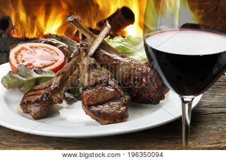 Roasted lamb rib and red wine