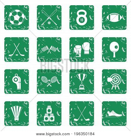Sport equipment icons set in grunge style green isolated vector illustration