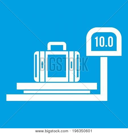 Luggage weighing icon white isolated on blue background vector illustration