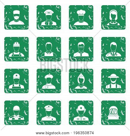Professions icons set in grunge style green isolated vector illustration