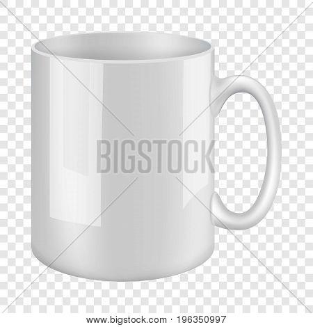 White mug mockup. Realistic illustration of white mug vector mockup for web