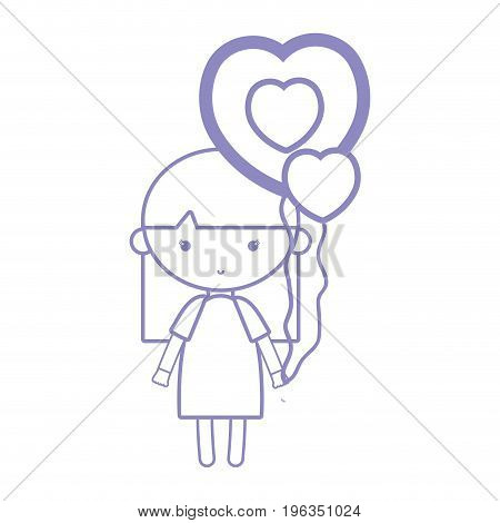 silhouette beauty girl with heart balloons and hairstyle design vector illustration